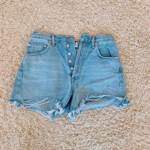 Button down ripped jean shorts